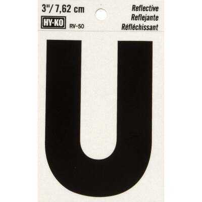Hy-Ko Vinyl 3 In. Reflective Adhesive Letter, U