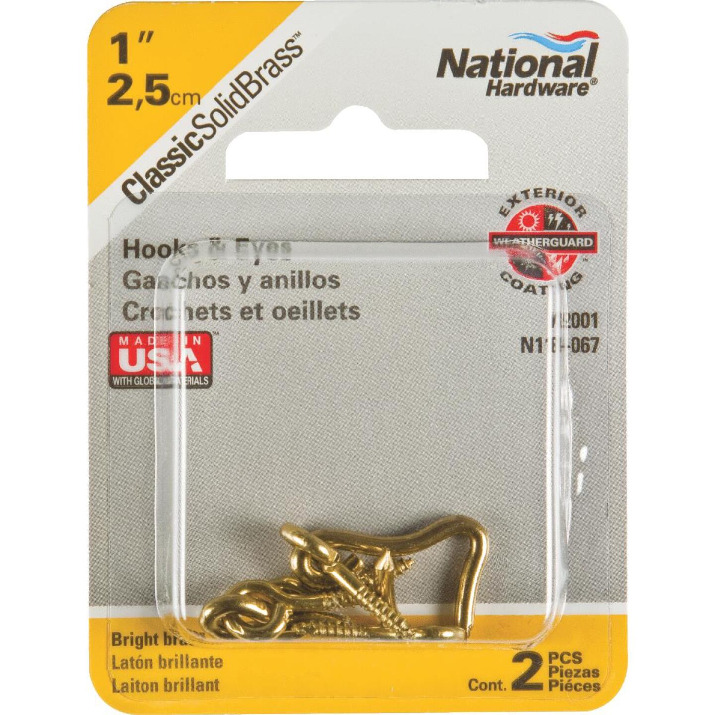 National Solid Brass 1 In. Hook & Eye Bolt (2 Ct.) Image 2