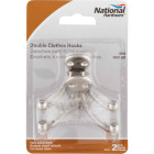 National Satin Nickel Double Cloth Wardrobe Hook, 2 per Card Image 2