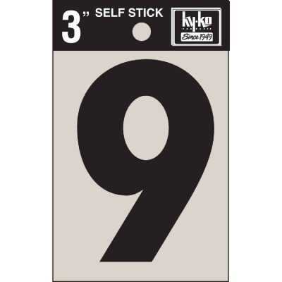 Hy-Ko Vinyl 3 In. Non-Reflective Adhesive Number Nine