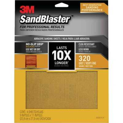 3M SandBlaster No Slip Grip Backing 11 In. x 9 In. 320 Grit Very Fine Sandpaper (4-Pack)