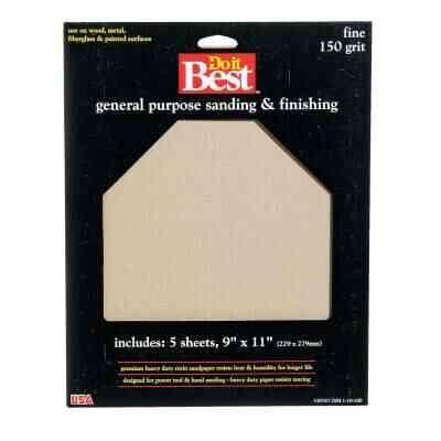Do it Best General Purpose 9 In. x 11 In. 150 Grit Fine Sandpaper (5-Pack)