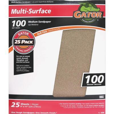 Gator Multi-Surface 9 In. x 11 In. 100 Grit Medium Sandpaper (25-Pack)