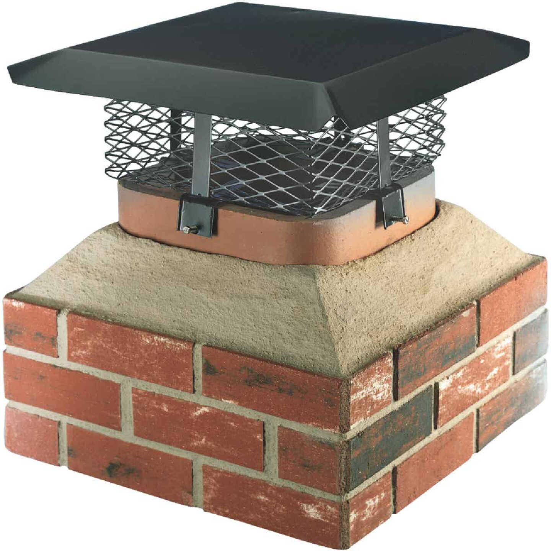 Shelter Adjustable Black Galvanized Steel Single Flue Chimney Cap Image 1