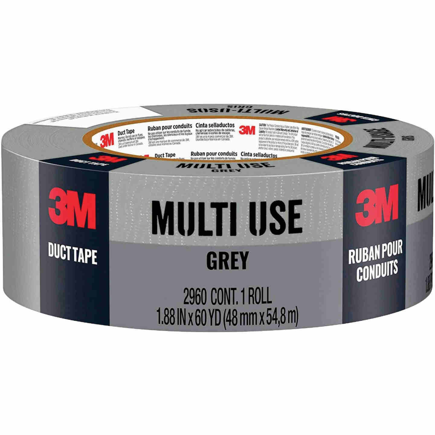 3M 1.88 In. x 60 Yd. Multi-Use Home & Shop Duct Tape, Gray Image 1