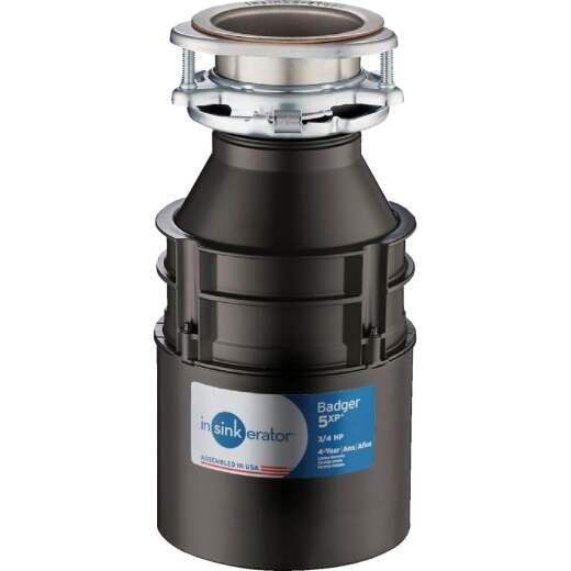 Insinkerator Badger 5XP 3/4 HP Dura-Drive Garbage Disposer, 4 Year Warranty