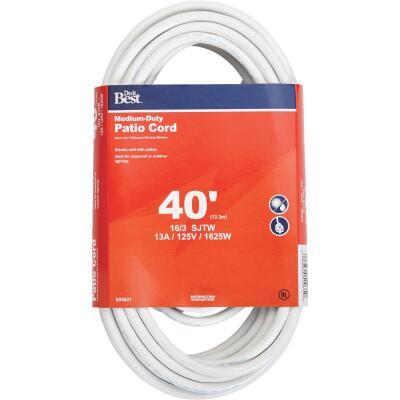 Do it Best 40 Ft. 16/3 Medium-Duty White Patio Extension Cord