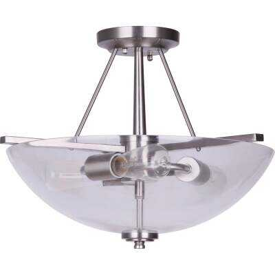 Home Impressions 15 In. Brushed Nickel Semi-Flush Mount Ceiling Light Fixture, Clear Glass