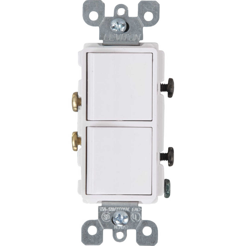 Leviton Single Pole White 15A Duplex Switch Image 1