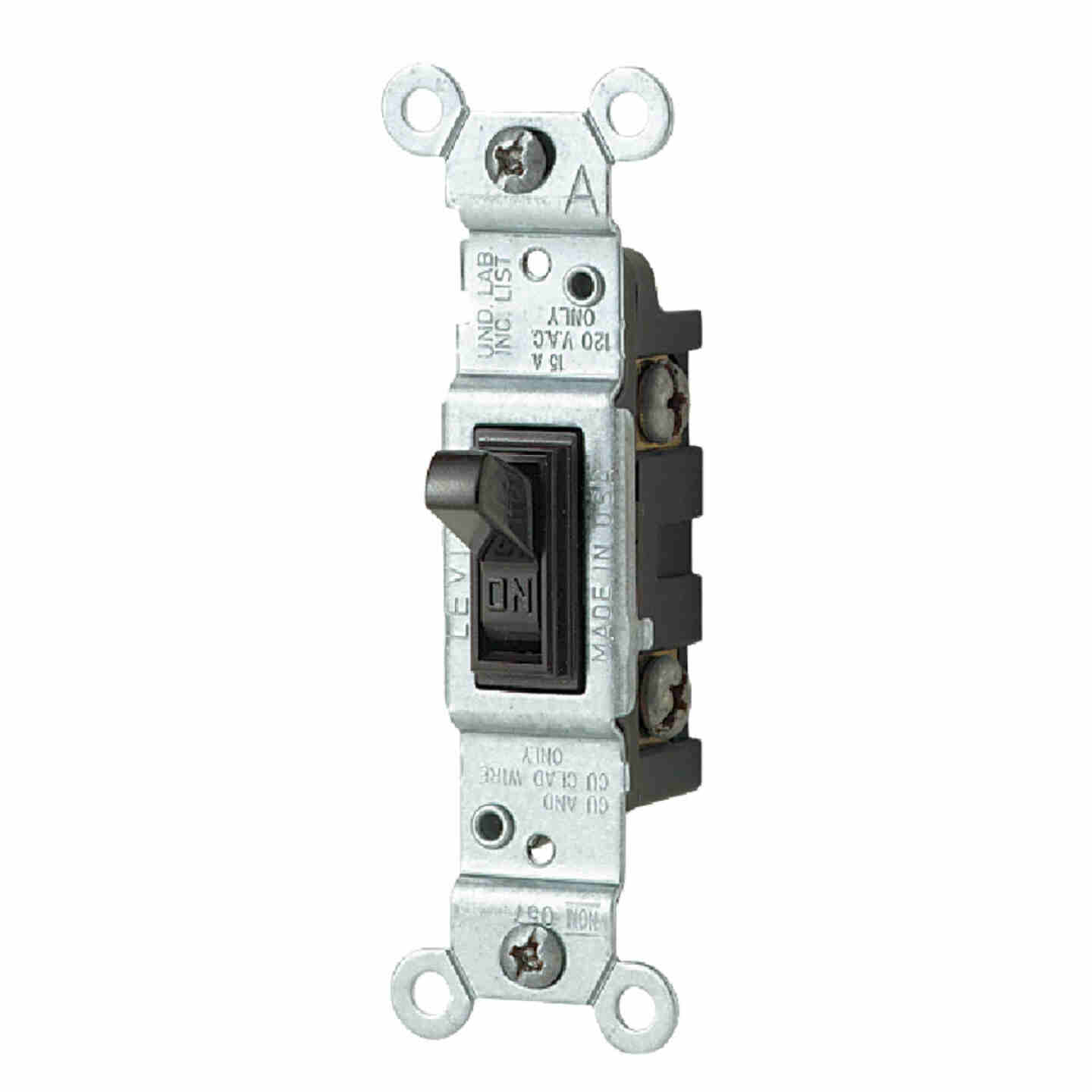 Leviton Residential Grade 15 Amp Toggle Single Pole Switch, Brown Image 1
