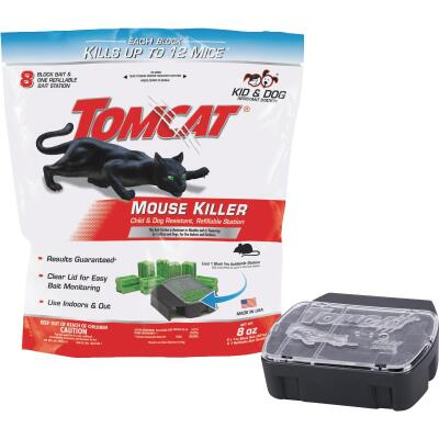 Tomcat Mouse Killer I Refillable Mouse Bait Station (8-Refill)