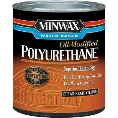 Minwax Semi-Gloss Water Based Oil-Modified Interior Polyurethane, 1/2 Pt.